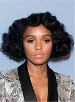 Janelle Monae Innovative Bob Hairstyle Curly Miedium Human Hair Lace Front Cap 10 Inches