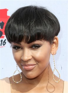 Short Loose Pixie Hairstyle Straight Human Hair With Full Bangs Capless Women African American Wigs 6 Inches