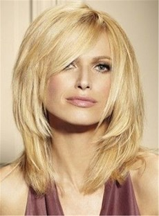 Blunt Cut Loyered Straight Women Synthetic Hair Capless Wig 14 Inches