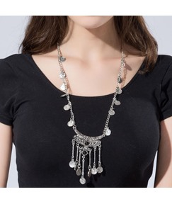 Exaggerated Coin Tassels Antique Silver Necklace