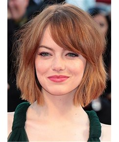 Emma Stone Bob Haircut Straight Human Hair Capless Wig 10 Inches