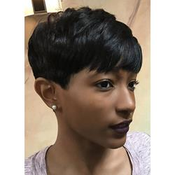 Choppy Pixie Short Straight Layered Cut With Full Bangs Human Hair Capless Wigs 6 Inches