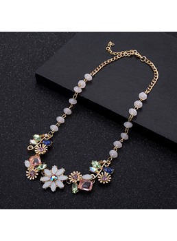 Diamante Flowers Zinc Alloy E-Plating Necklace