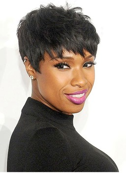 Black Short Straight With Bangs Boy Cut Human Hair Capless Cap Wigs 6 Inches