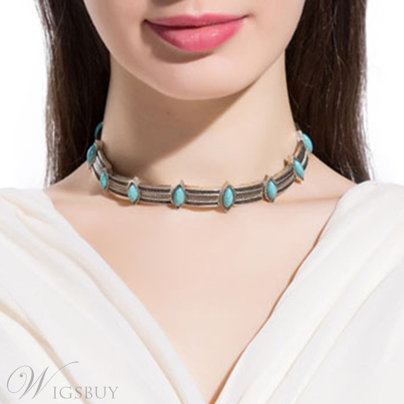 Imitation Turquoise Inlaid Blue Resin Necklace