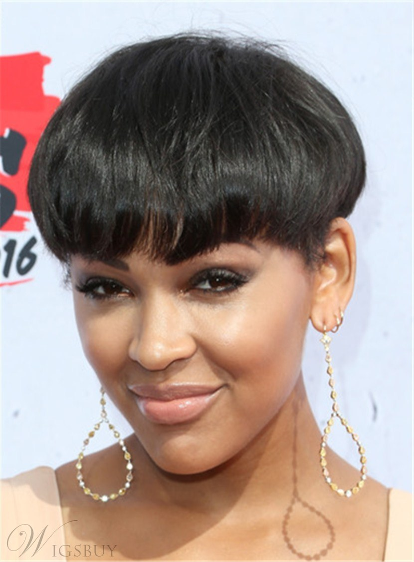 Short Loose Pixie Hairstyle Straight Human Hair With Full Bangs