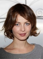 Wavy Bob Short Cut Women Human Hair Capless Wig 10 Inches