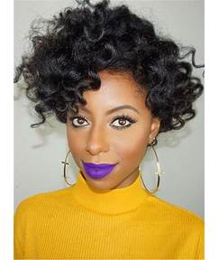 Natural Black Messy Kinky Curly Loose One Side Part Sexy Short Lace Front Cap Synthetic Hair 8 Inches