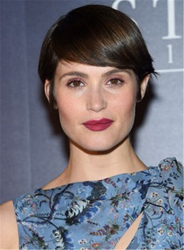 Gemma Arterton Short Straight Emo Bangs Capless Human Hair wig