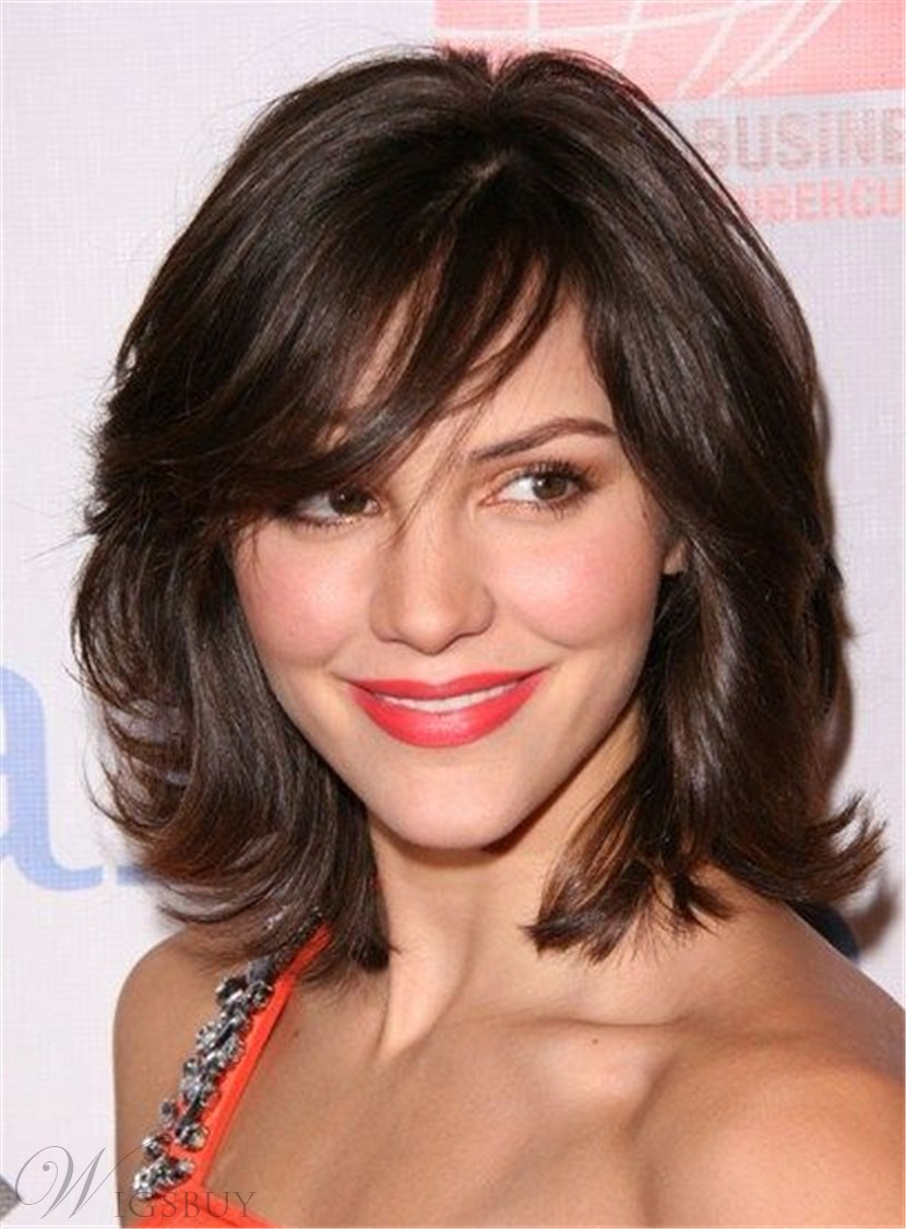 Medium Wavy Cut with Bangs Synthetic Hair Capless wigs 12 Inches 12803715