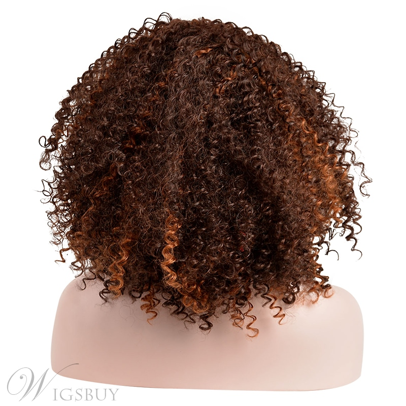 COSCOSS®Hot Sale Medium Kinky Curly Synthetic Hair Wig 12 Inches