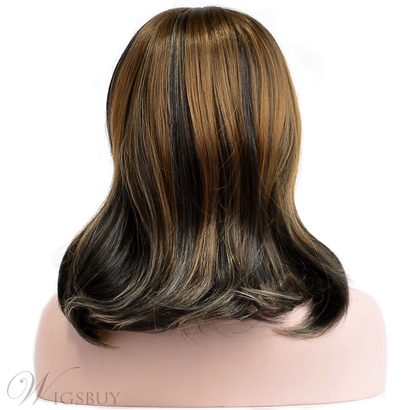 Beautiful Medium Natural Straight Mixed Dark Brown Synthetic Hair Capless Wig 14 Inches