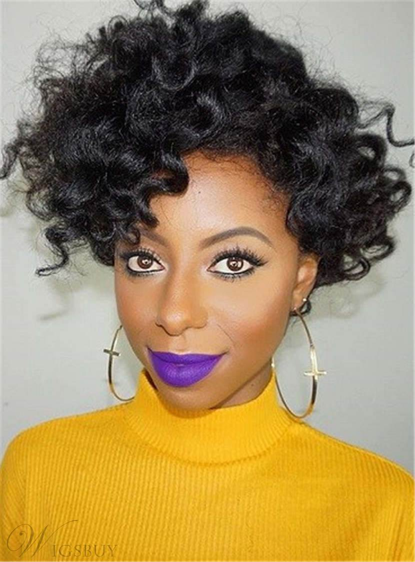 Natural Black Messy Kinky Curly Loose One Side Part Sexy ...