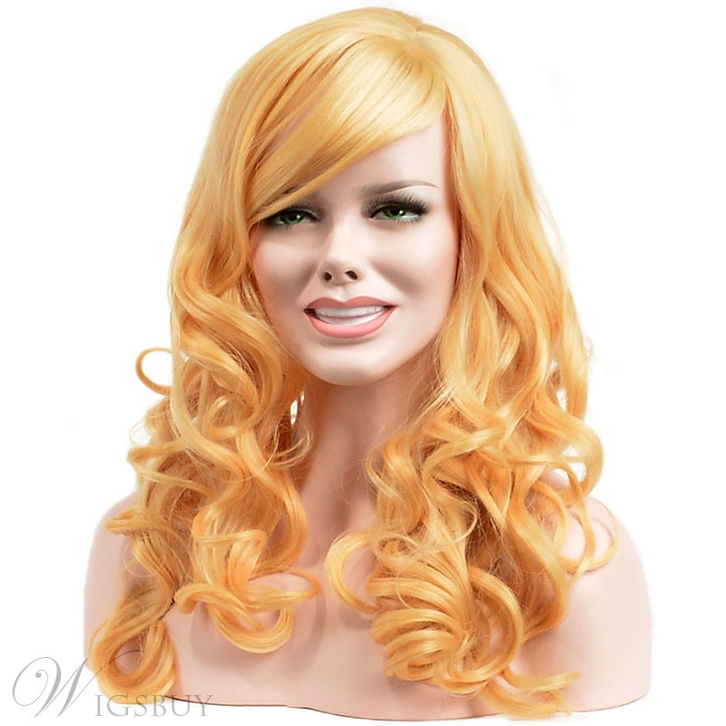 Charming Blonde Long Wavy Wig Synthetic Hair Capless 18 Inches