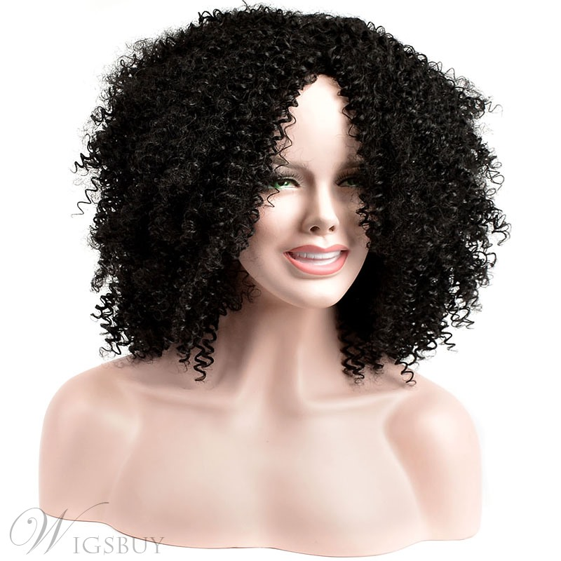 COSCOSS Medium Curly Capless Synthetic Hair Wig 14 Inches: W
