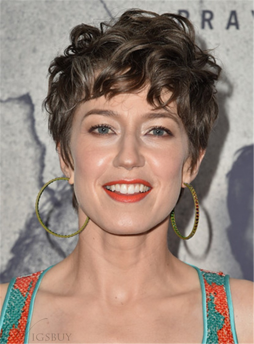 Carrie Coon Mussed-up Wavy Short Messy Cut Human Hair Capless Wig