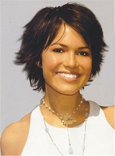 Layered Straight Synthetic Hair For Round Face With One Side Part Bangs Capless Cap Wigs 10 Inches