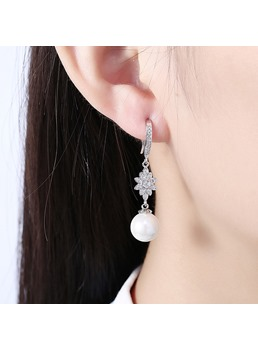 Sun Flower with Rhinestone Pearl Dangle Earrings