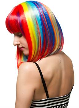 Bob Rainbow Colored Synthetic Hair With Blunt Cut Straight Bangs Short Wigs Capless Cap 10 Inches