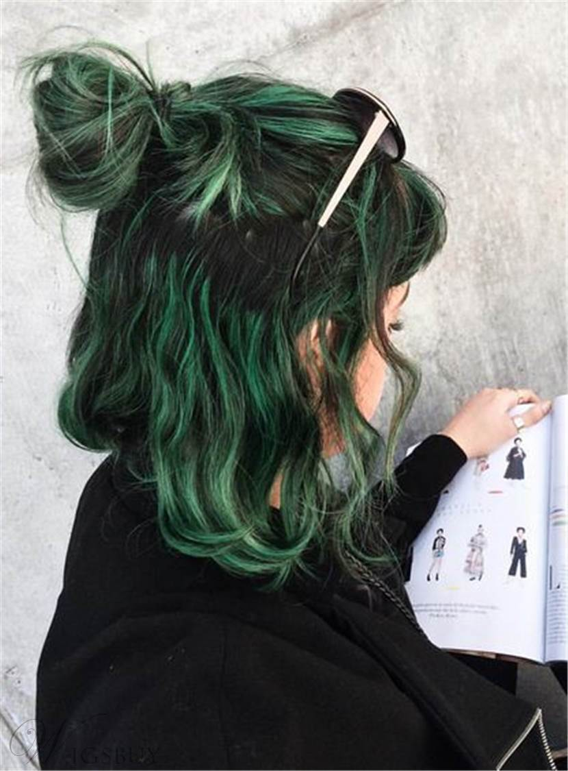 Lob Mixed Color Green And Black Synthetic Hair Messy Wave