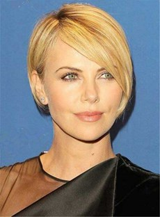 Short Blonde Straight Side Swept Bangs Human Hair Wig Full Lace Cap 8 Inches