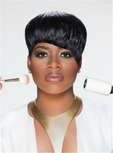 Natural Black Short Blunt Cut Pixie Synthetic Hair With Straight Full Bangs For Round Face Capless Cap Wigs 6 Inches