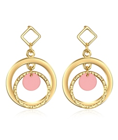Double Circle Design Imitation Gold Plated Earrings