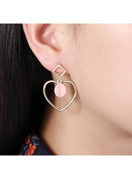 Sweet Pink Resin Heart-Shaped Earrings