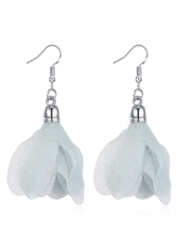 Mesh Cloth Flowers Design E-Plating Earrings