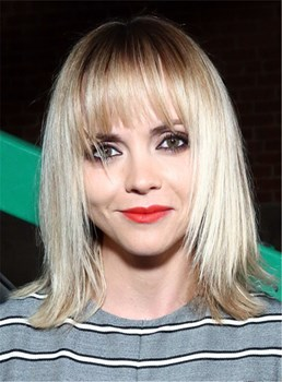 Christina Ricci Shoulder Length Hairstyles Golden Yellow Synthetic Hair Capless Wig 12 Inches
