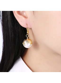 Pearl Petal Alloy Dangle Earrings