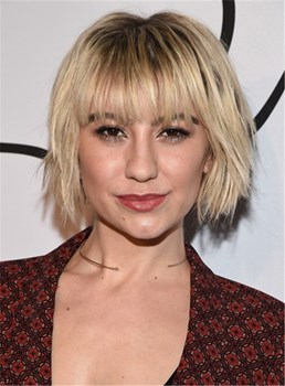 Chelsea Kane Short Layered Straight Human Hair With Bangs 10 Inches Capless Wig