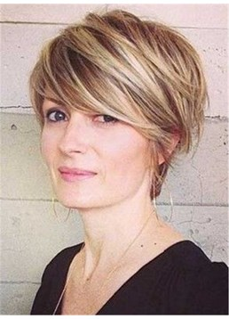 Mixed Color Bangs Short Straight Capless Synthetic Hair Women Wigs 8 Inches