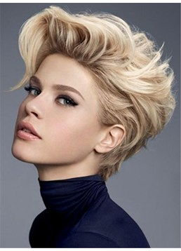 Fluffy Short Wavy Synthetic Hair Lace Front Women Wigs 8 Inches
