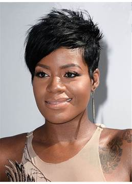 Fantasia Barrino Short Boy Cut Layered Straight One Side Part Bangs Pixie Synthetic Hair Capless Cap Wigs 6 Inches