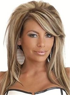 Mixed Color Teased Layered Straight Synthetic Hair With One Side Part Bangs Capless Cap Wigs 16 Inches