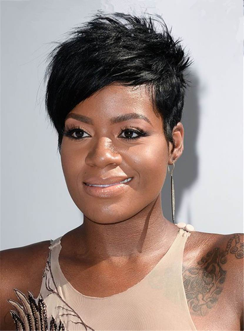 Fantasia Barrino Short Layered Side Part Bangs Pixie Synthetic Hair Capless Wigs 6 Inches