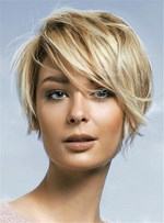 Trending Short Cut Straight Capless Synthetic Hair Women Wig 8 Inches