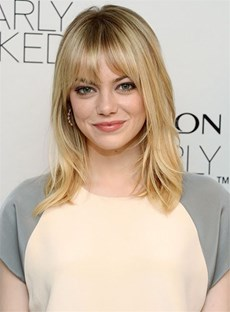 Emma Stone Full Bangs Nature Straight Capless Synthetic Hair Wig 14 Inches