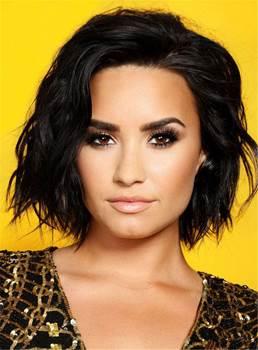Demi Lovato Sexy Blunt One Side Part Short Lob Wave Synthetic Hair Lace Front Wigs Afro 10 Inches