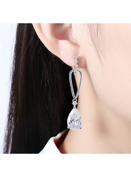 Zircon Mosaic Copper Plating Romantic Earrings