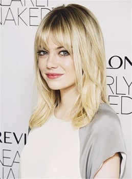 Emma stone full bangs nature perruque sans fil capless sans fil 14 pouces