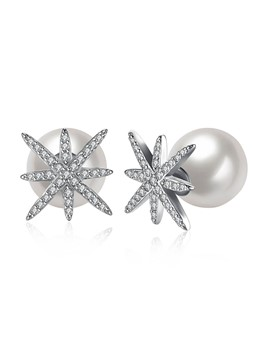 Snowflake Diamante Design Pearl Stud Earrings