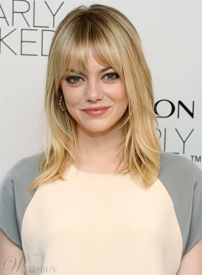 Emma Stone Full Bangs Nature Straight Capless Synthetic Hair Wig 14 Inches 12826836