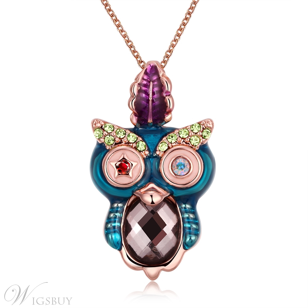 Owl Pendant Studded with Jewels Necklace