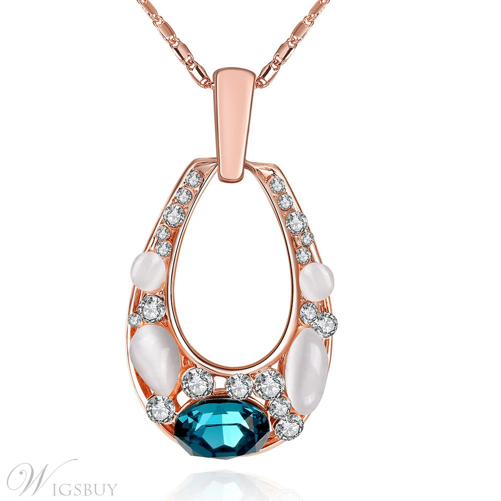 Opal Inlaid Hollow Water Droplets Pendant Necklace