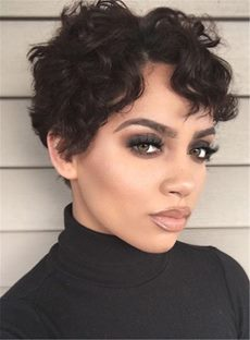 Boycut Sexy Curly Pixie Short Synthetic Hair Lace Front African American Wigs 6 Inches