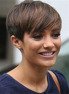 Short Natural Pixie Hairstyle On The Side Brown Straight Human Hairs Capless Women Wigs 6 Inches
