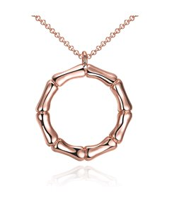 OL Style Bamboo Circle Design Pendant Necklace
