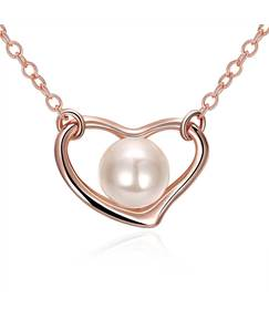 Rose Gold Chain Sweetheart with Pearl Necklace